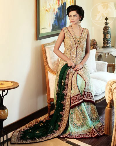 Bridal-dress-Light-gold-fully-embellished-gown-with pistacho green-lehenga-and-bottle-green-duppata