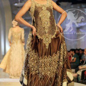 Brown Heavy Bridal Pishwas