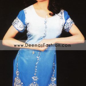 Buy Pakistani Fashion Clothes - Blue Shalwar Kameez Dress