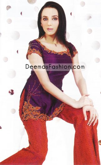 Buy Pakistani Fashion Clothes - Dark Purple Tunic