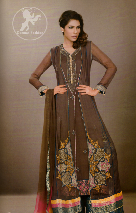 Dark Brown Front Open Casual Wear Gown & Straight Trouser