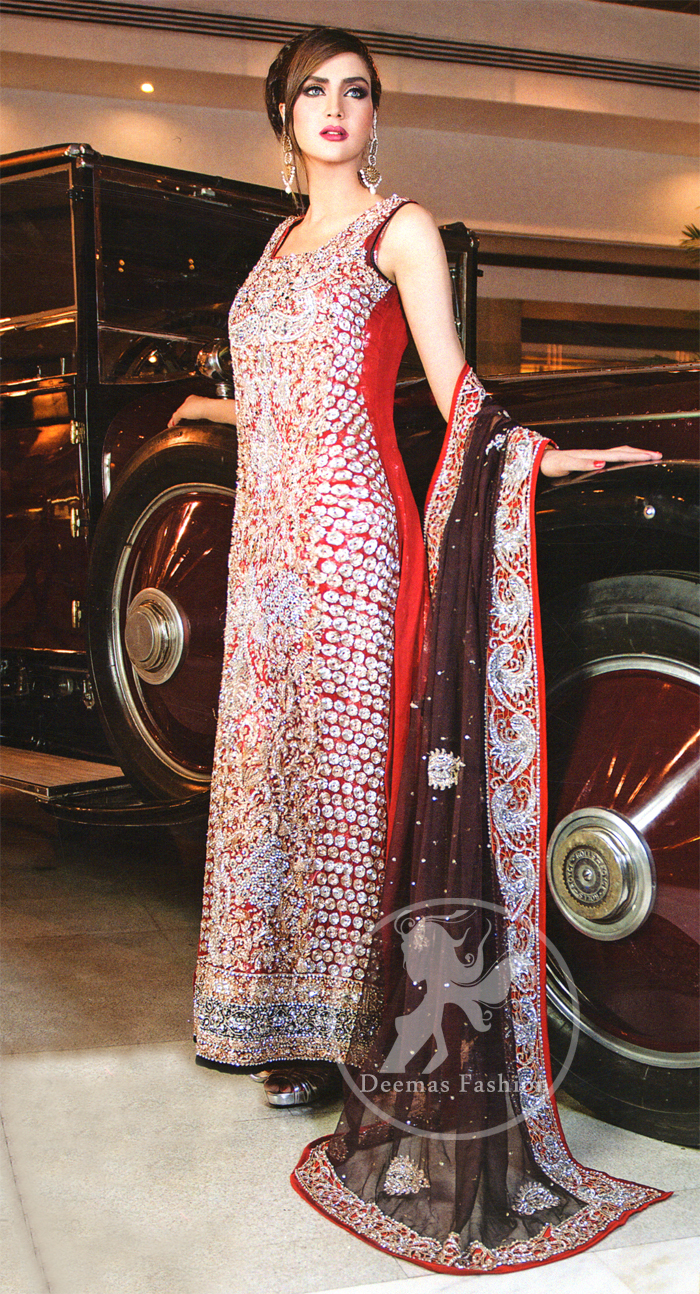 Deep Red Fully Embellished Formal Long Shirt with Plum Dupatta
