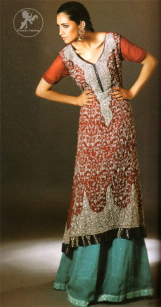 Deep Red Heavily Embroidered Shirt with Turquoise Green Sharara and Dupatta