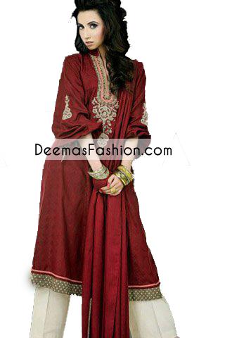 Deep Maroon A Line Casual Wear Dress