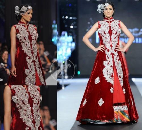 Deep Red Velvet Full Length Front Open Embellished Gown and Skirt