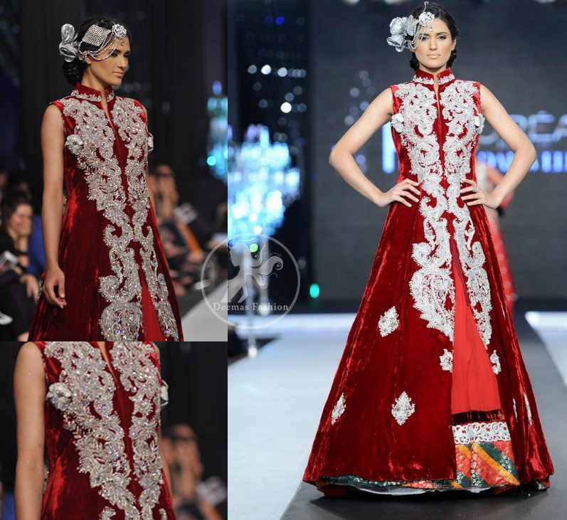 Deep red pure velvet front open embellished gown and red pure chiffon inner gown. Upper gown is adorned with embellished long neckline.