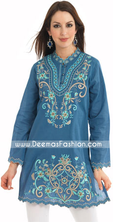 Pakistani Simple Designer Wear Blue kurti