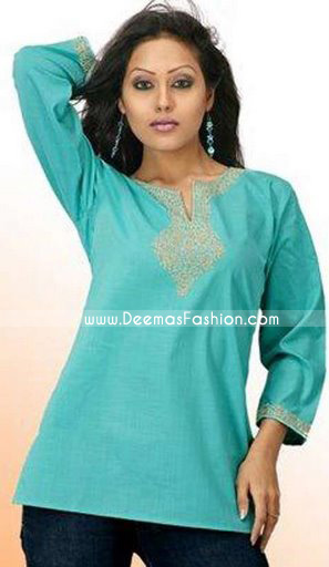 Simple Ladies Kurta Dress – Turquoise Green Short Kurti