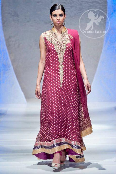 Designer Wear Dress Dark Pink Back Trail Banarsi Frock with Embellished Neckline