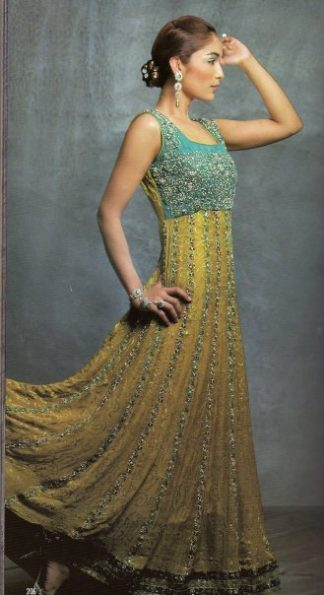 Pakistani Latest Fashion Colthes - Dull Golden Bridal Anarkali Dress