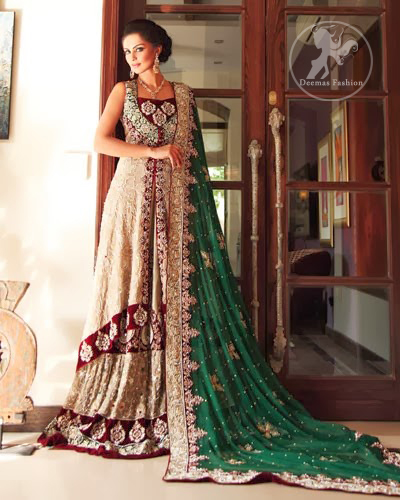 345a672d76 Fawn Front Open Gown - Green Dupatta - Pakistani Wedding Wear 2019 ...