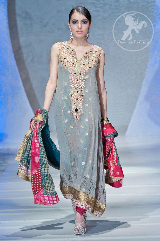 Gray-shocking-pink-aline-shirt-with-embroidered-neckline-and-churidar-pajama
