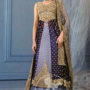Grayish Blue and Navy Blue Front Open Bridal Gown Lehnga