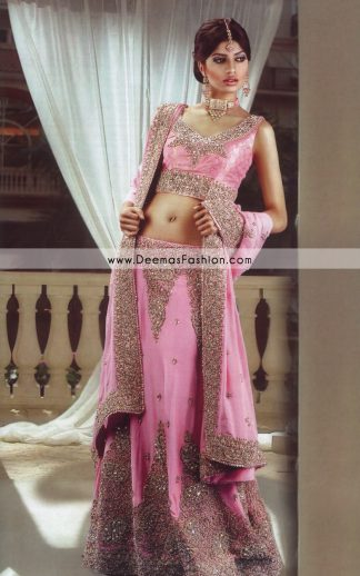 Latest Indian Style Lehenga - Pink Golden Bridal Dress