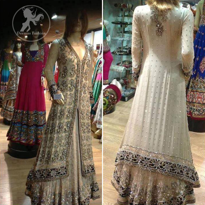 Ivory-White-front-open-fully-embellished-back-trail-gown-and-lehnga