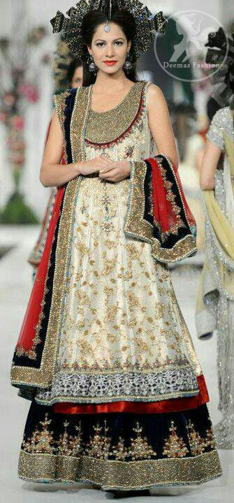 Ivory White Bridal Dress with Deep Red Dupatta and Black Embellished Lehnga