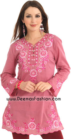 Ladies kurtiz Clothes - Pink Embroidered Kurti Design