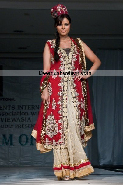 Lates Bridal Wear Collection - Red Off-White Sharara
