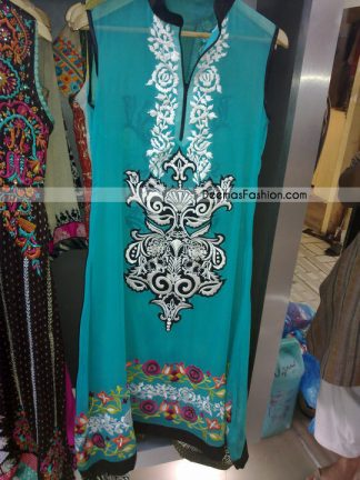 Latest Casual Clothes - Ferozi Embroidered Dress