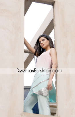 Latest Casual Wear Dress - Pink & Ferozi Designer Clothes