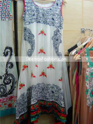 Pakistani Designer Dress - Black White Casual Wear