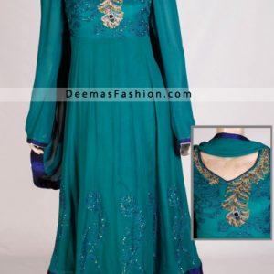 Latest Fashion - Ferozi Green Anarkali Kalliyan Style Frock