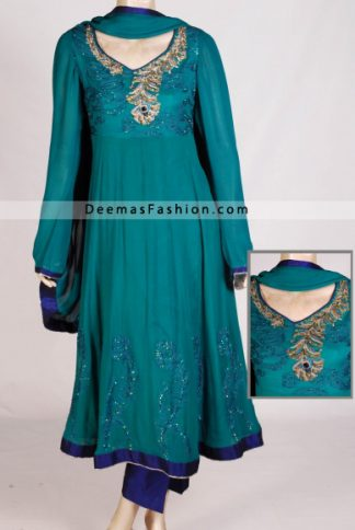 Latest Fashion - Ferozi Green Anarkali Kalliyan Style Frock