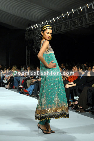 Latest Pakistani Fashion - Turquoise Green Anarkali Frock