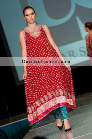 Latest Formal Wear Red Ferozi A-Line Dress