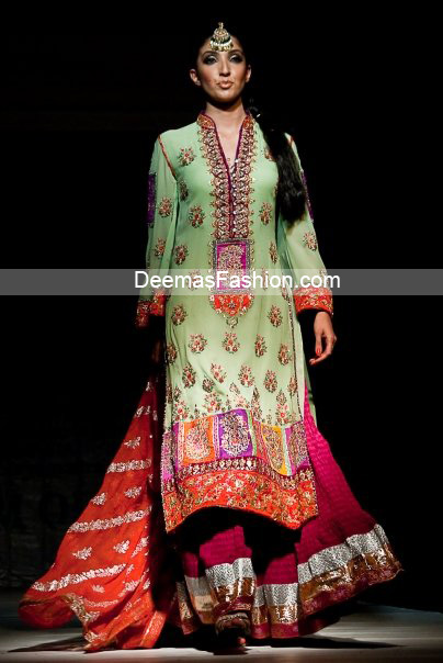 Latest Pakistani Bridal Wear - Multi Color Sharara