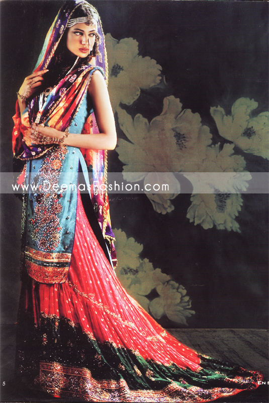 Latest Pakistani Bridal Wear - Red Blue Lehnga