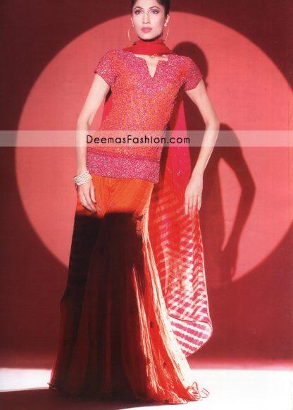 Latest Pakistani Bridal Wear - Shocking Pink & Orange Sharara