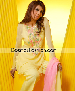 Latest Pakistani Casual Wear - Yellow Embroidered Dress
