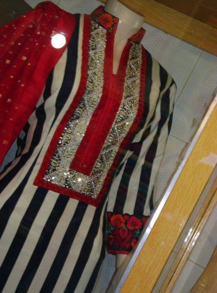 Latest Pakistani Casual Wear - Back and White lining Dress