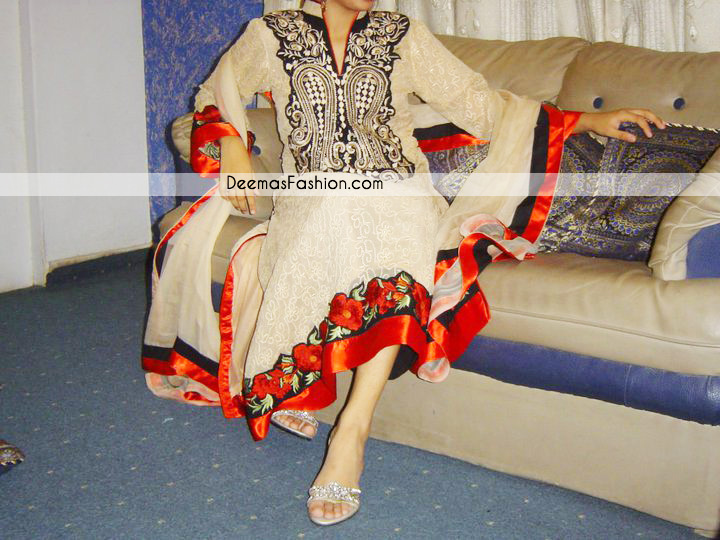 Latest Pakistani Casual Clothes - Beige Embroidered Fashion Dress