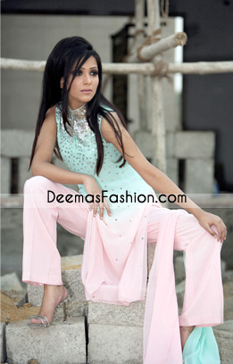 Latest Pakistani Casual Wear - Pink Ferozi Embroidered Dress