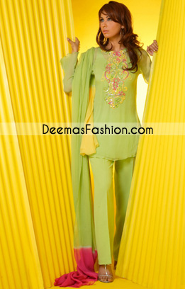 Latest Pakistani Designer Dresses - Green Casual Wear