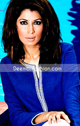 Latest Pakistani Fashion - Blue Embroidered Kurta