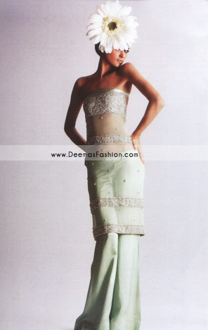 Latest Pakistani Fashion – Light Green Formal Wear Dress