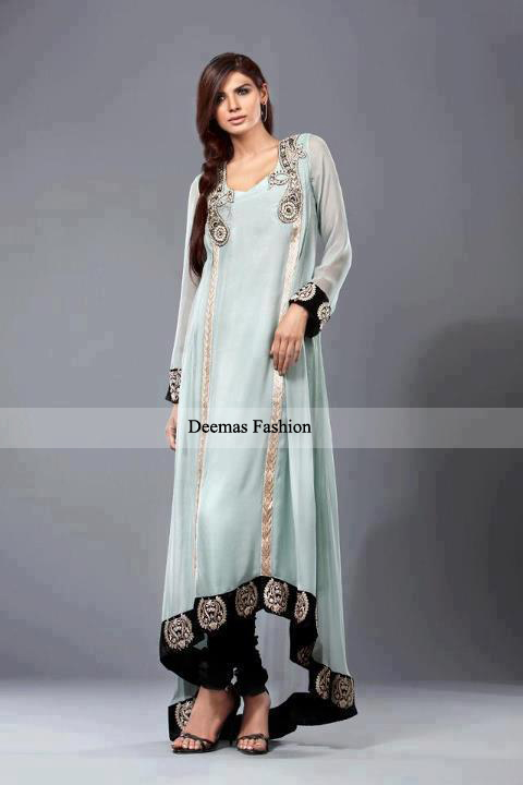 Latest Pakistani Fashion 2013 Grey Semi Formal Dress