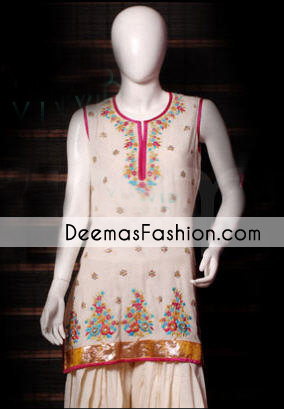 Latest Pakistani Fashion Beige Designer Wear Dress