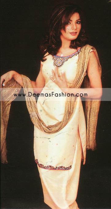 Latest Pakistani Fashion - Off-white Shalwar Kameez