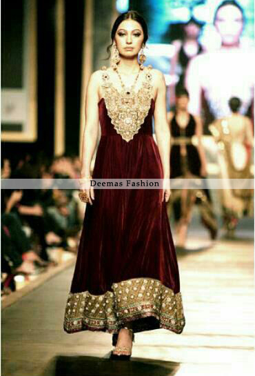 Latest Pakistani Formal Wear Dress Maroon Aline Frock