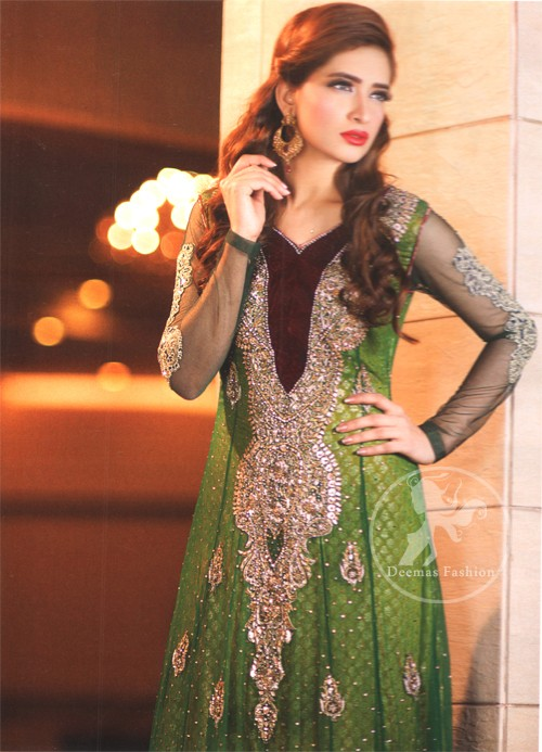 Latest Pakistani Mehndi Wear Bottle Green Frock With Embellished Long Neckline
