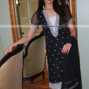 Latest Pakistani Party Wear Dress Black Silver