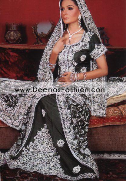 Latest Pakistani Wedding Dress – Black Silver lehnga