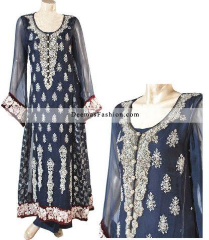 Latest Pakistani Fashion 2011 Navy Blue A-Line Dress