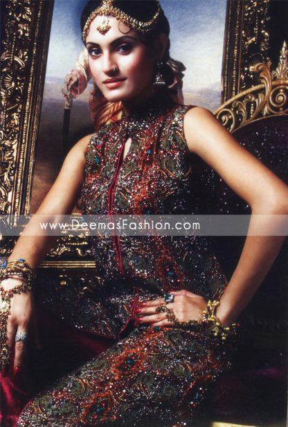 Latest Pakistani Fashion - Maroon Embroidered Bridal Dress