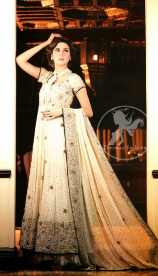 Latest Wedding Outfit Off white heavy Embellished Frock Gray Lehnga