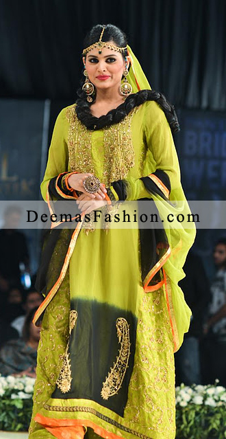 Latest Bridal Wear Fashion Mehndi Bottle Green A-Line Dress